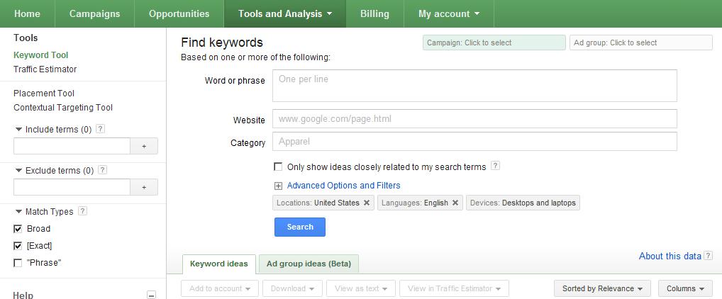Adwords Keyword Tool 2