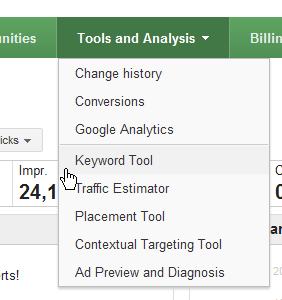 Adwords Keyword Tool Select